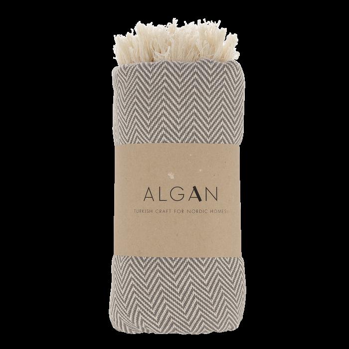 Handtuch im grau/weißem Fischgrätenmuster von Algan