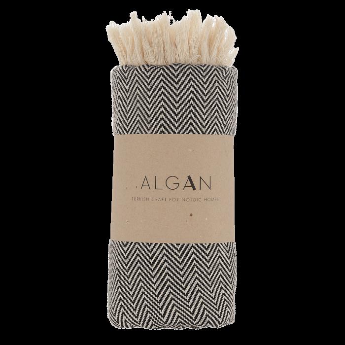 Schwarz/weißes Handtuch im Fischgrätenmuster von der Marke Algan