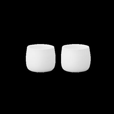 zwei weiße espresso becher von stelton
