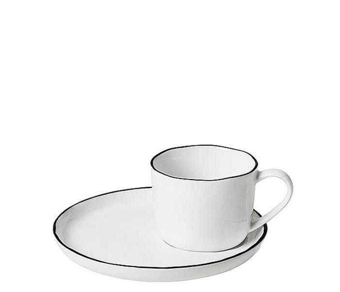 Teetasse mit Untertasse Salt von Broste Copenhagen