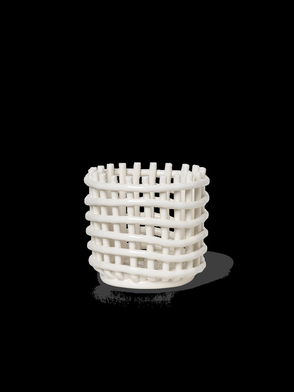 Keramikkorb off white