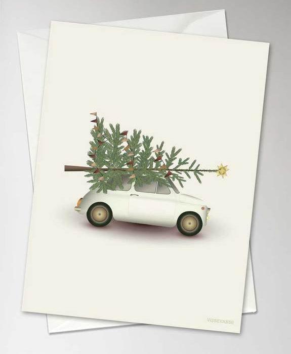 "Grußkarte ""Christmas Tree & Little Car"" von Vissevasse"