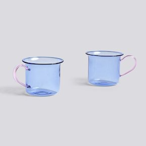 Borosilicate Tasse Light Blue/Pink