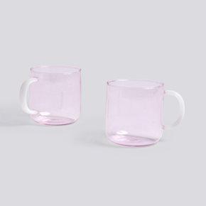 Borosilicate Tasse - Pink/White - 2 Stk. von Hay