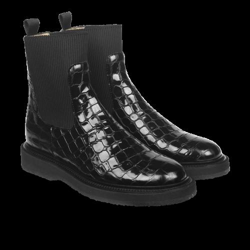 Boot With Elastic Black Croco