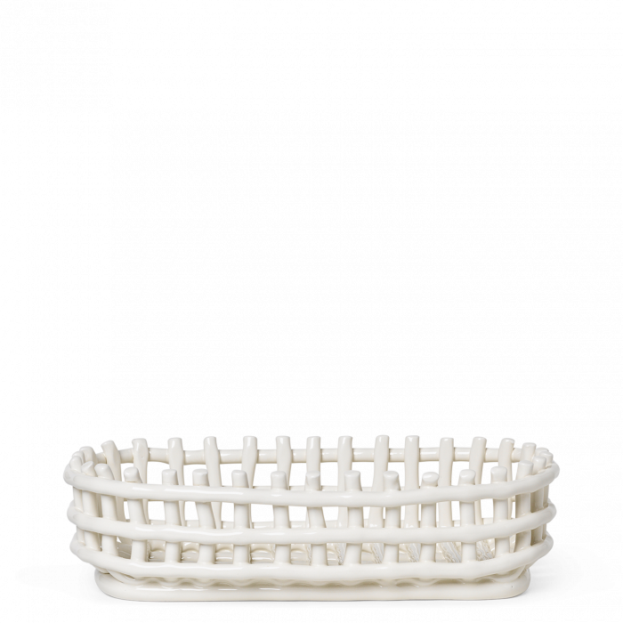 Keramikkorb Oval Off White